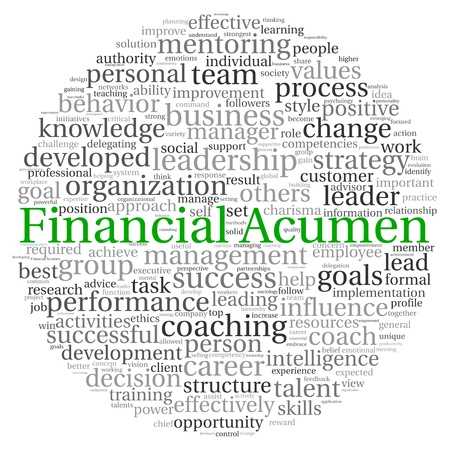Financial Acumen concept in word tag cloud on white background photo