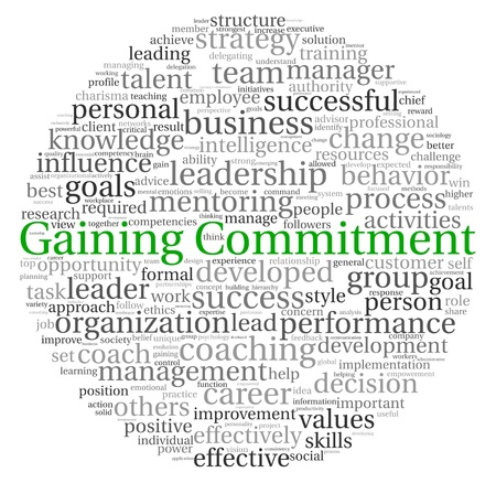 commitments: Gaining Commitment concept in word tag cloud on white background