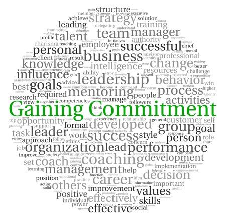 commitment: Ganando el concepto Compromiso en la nube de palabra de la etiqueta en el fondo blanco