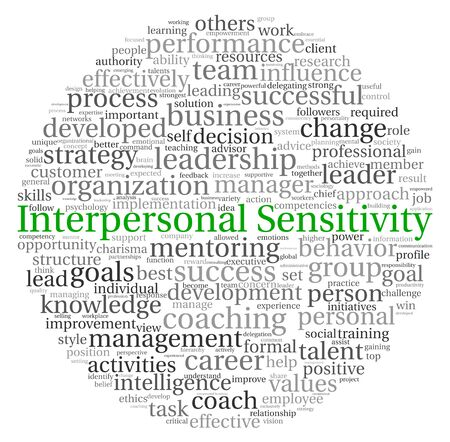 sensitivity: Interpersonal Sensitivity concept in word tag cloud on white background Stock Photo