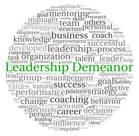 Leadership Demeanor concept in word tag cloud on white background photo