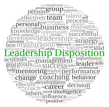 disposition: Leadership Disposition concept in word tag cloud on white background Stock Photo