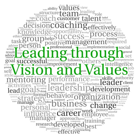 Leading throuth vision and values concept in word tag cloud on white background photo