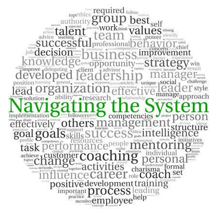 Navigating the System concept in word tag cloud on white background photo