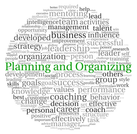 Planning and Organizing concept in word tag cloud on white background photo