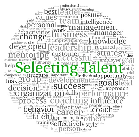 effective: Selecting Talent concept in word tag cloud on white background