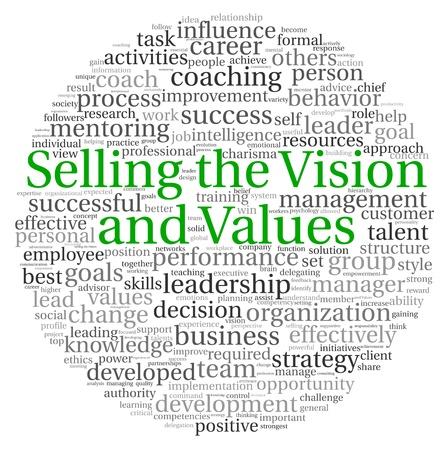 vendiendo: La venta de la visi�n y el concepto de valores en la nube de palabra de la etiqueta en el fondo blanco Foto de archivo