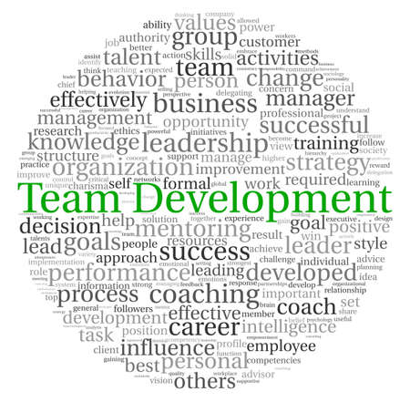 Team Development concept in word tag cloud on white background photo