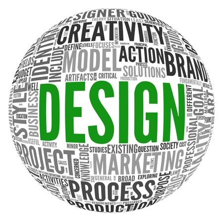 Design concept in tag cloud of sphere shape photo