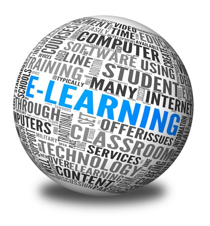 E-learning concept in word tag cloud maped on sphere photo