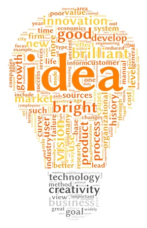 organization design: Idea concept related words in tag cloud of bulb shape