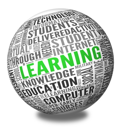 Learning and education concept in word tag cloud on sphere Stock Photo - 13864612