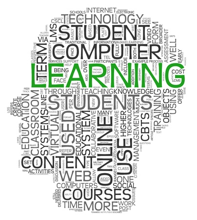 self study: Learning concept in tag cloud of human head shape on white background