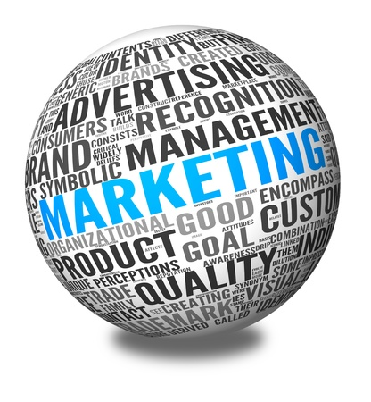 Marketing concept in word tag cloud on 3d sphere Stock Photo