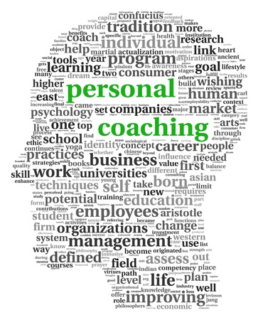 self development: Personal coaching in tag cloud of human head shape on white
