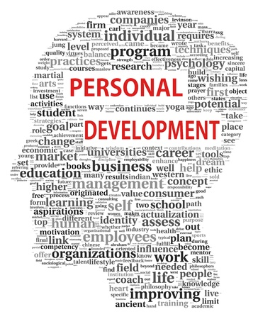 Personal development in tag cloud of human head shape on white photo