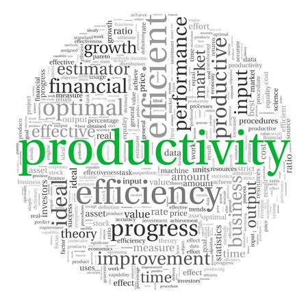 input output: Productivity concept in word tag cloud on white background