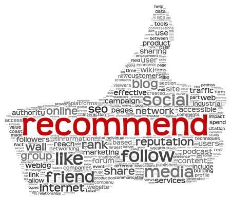 recommend: Recommend as social media symbol in tag cloud of thumb up shape  Isolated on white background concept