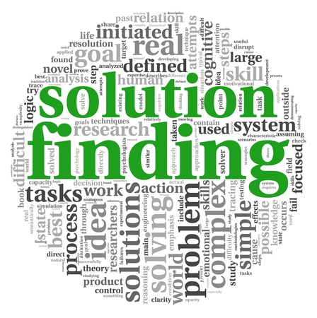 Solution finding concept in word tag cloud on white background photo