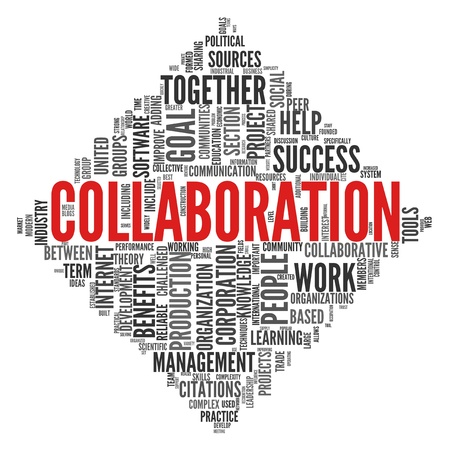 collaboration: Collaboration concept in word tag cloud isolated on white background