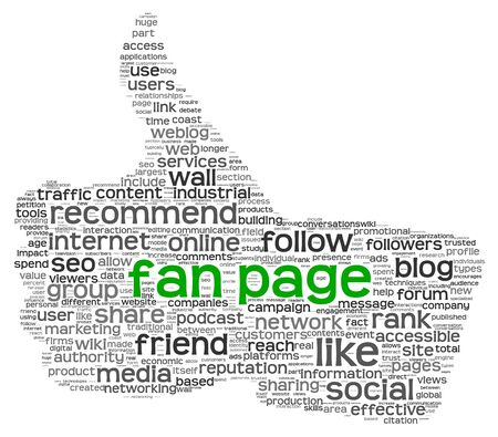 fanpage: Fan page concept in tag cloud of thumb up shape isolated on white background