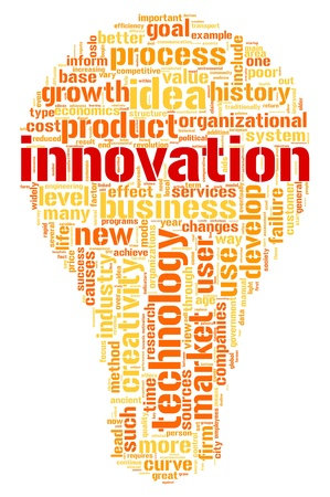 product development: Innovation and technology concept related words in tag cloud inside bulb shape Stock Photo