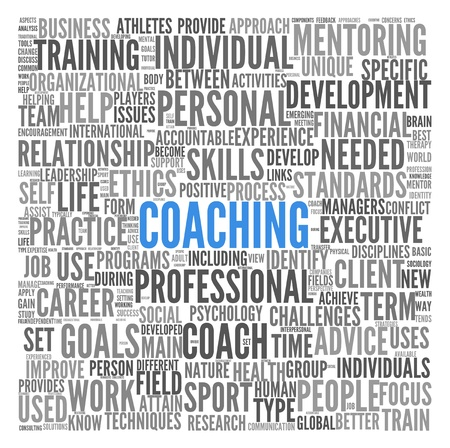 capabilities: Coaching concept related words in tag cloud isolated on white Stock Photo