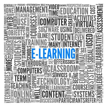 computer lesson: E-learning concept in word tag cloud on white Stock Photo