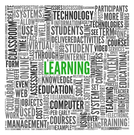 Learning and education concept in word tag cloud on white photo