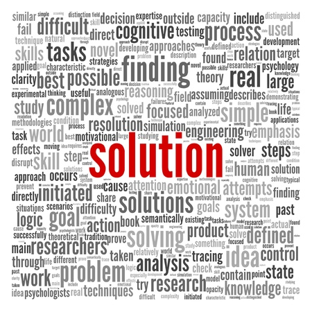 problem solved: Solution concept in word tag cloud on white background