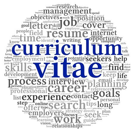 cv: Curr�culum vitae CV concepto en nube de palabra de la etiqueta en el fondo blanco