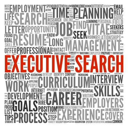 Executive search concept in word tag cloud on white background photo
