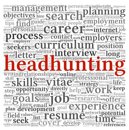 Headhunting concept in word tag cloud on white background photo