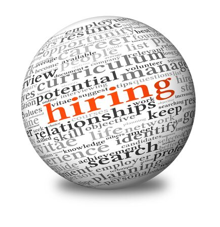 hiring: Hiring and job search concept in word tag cloud on 3d sphere Stock Photo
