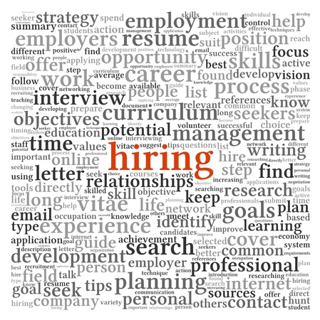Hiring and job search concept in word tag cloud on white background photo