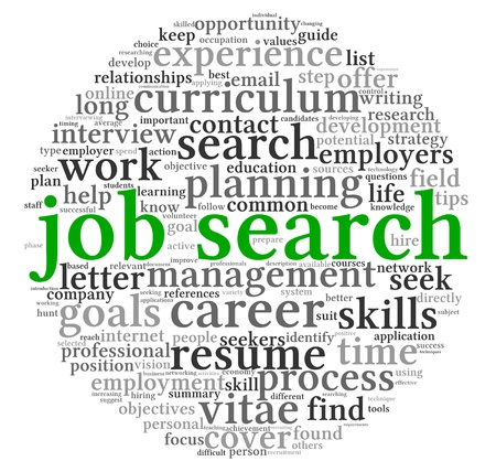 job hunt: Job search concept in word tag cloud on white background