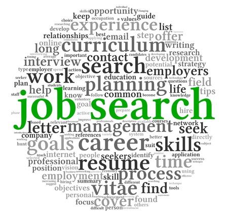 Zoeken naar een baan begrip in woord tag cloud op een witte achtergrond