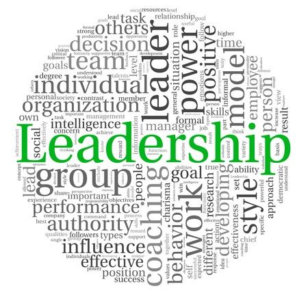 liderazgo: Concepto de liderazgo en la nube de palabra de la etiqueta en el fondo blanco
