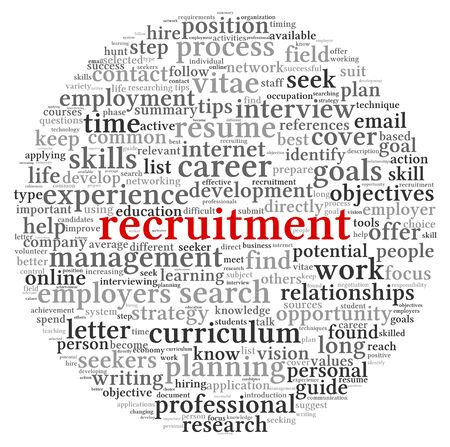 Recruitment concept in word tag cloud on white background Stock Photo - 14255683