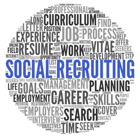 recruiting: Social recruiting concept in word tag cloud on white background Stock Photo