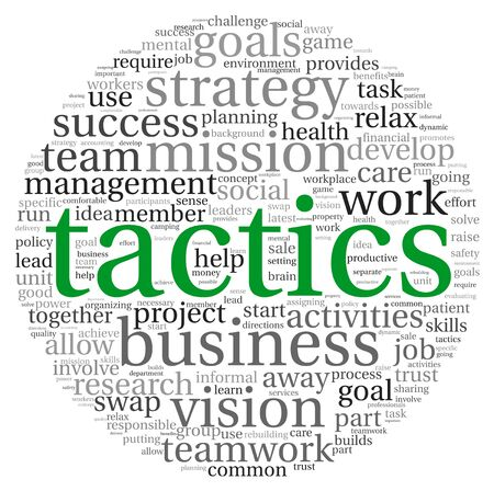 innovation word: Business tactics and strategy in word tag cloud on white background