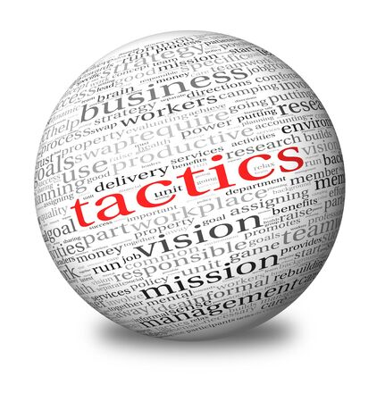 tactics: Business tactics and strategy in word tag cloud on 3d sphere