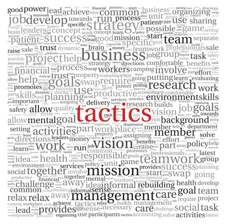 vision mission: Business tactics and strategy in word tag cloud on white background
