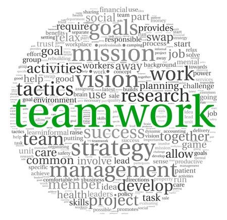 trabajo de equipo: El trabajo en equipo y el concepto de estrategia en la nube de palabra de la etiqueta