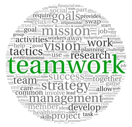 word cloud: Teamwork and strategy concept in word tag cloud Stock Photo