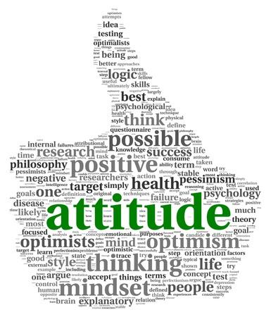 actitud positiva: Actitud en el concepto de nube de palabra de la etiqueta de la forma de dedo pulgar hacia arriba