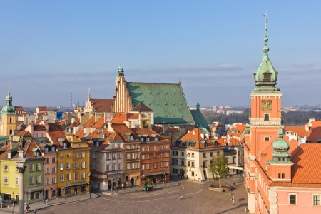 Aerial view of Royal Castle and Old Town Square in Warsaw, Poland.