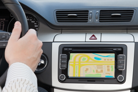 GPS navagation in interior of luxury car photo