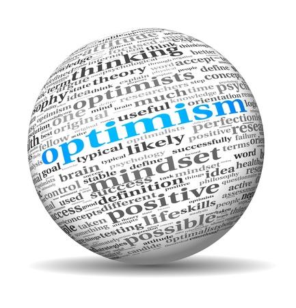 楽観: 3 d 球体上単語タグクラウドで楽観的な概念