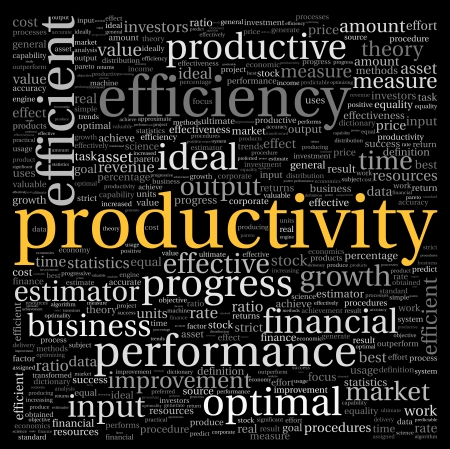 Productiviteit concept in woord tag cloud op zwarte achtergrond Stockfoto
